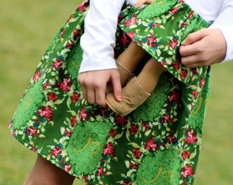 Size 10 Matching Girl and American Girl Doll Clothing - Green Wreath Christmas Skirts
