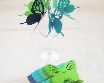 Wine Glass Butterfly Place Card Blue Green Wedding Shower Anniversary Birthday  (60)