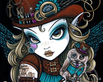 Myka Jelina Original Acrylic Painting Jewels Steampunk Owl Aviatrix Fairy Art