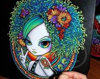SALE Rainbow Eyes Original Painting Hippie Mandala Psychedelic Flower Child Irisa Starfire Afro Fantasy