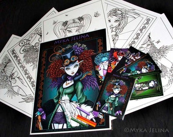 Set 3 - 5 Pages - Myka Jelina Fantasy Art Coloring Pages & Trading Card  Steampunk Rockabilly Fairy Art