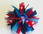 Tennessee Titans Medium Pom Pom Hair Bow-AFC Team Spikey Ponytail Holder--Cheer Squad Pom Pom Hair Bow--Navy Neon Blue and Red Polka Dot Bow