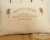 Farmhouse Coffee stained Bee Keepers feed sack  flour sack pillow Prairie Prim charm ECS RDT