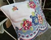 Pillow sham Vintage Retro tablecloth Farmhouse Summer Porch red white blue yellow RDT ECS FVGteam