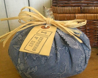 "Rustic Autumn PILLOW PUNKIN fabric pumpkin Prairie farmhouse blue denim color 5"" ecs rdt ofg svfteam FVGteam"