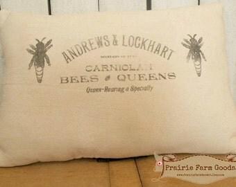 Farmhouse Coffee stained Bee Keepers feed sack  flour sack pillow Prairie Prim charm ECS RDT FVGteam
