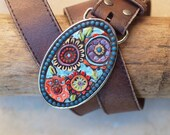 Statement Mosaic Belt Buckle Oval Turquoise & Coral with Leather Belt, Colorful Pottery Unique Gift for Hip Friend Boho Girl Friend