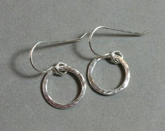 Small Fine Silver Circle Earrings, Small Circles, Silver Rings, Dangle Earrings, Petite Sterling Silver Earrings by Maggie McMane Designs