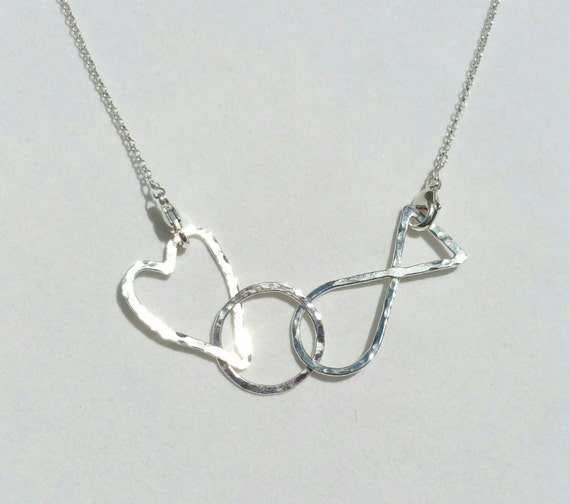 Jesus fish heart circle necklace fine silver connected links for Jesus fish necklace