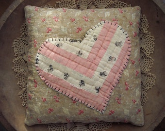 Primtive Rustic Valentine Heart Pillow from Vintage Quilt Blocks