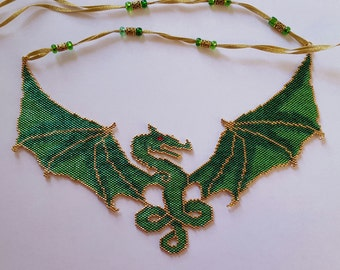 Green Dragon Beaded Necklace