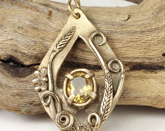 Faceted Golden Citrine Necklace, Faceted Citrine Pendant, Rustic Bronze Pendant, Handmade Artisan Pendant, Genuine Citrine Gemstone