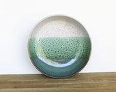 Serving Bowl in Sea Mist and White Glazes, Stoneware Pottery Pasta or Dinner Salad Bowl