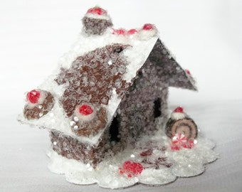 As Seen in Country Woman Vintage Putz Style Miniature Gingerbread Glitter Sugar House Peppermint Candy Chocolate Christmas Tree Ornament