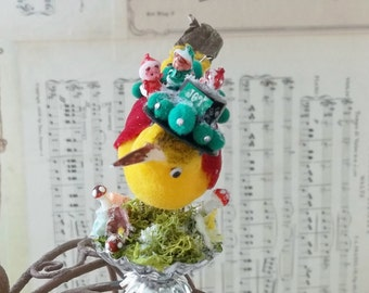 One of a Kind Heirloom Sassy Pixies Dancing on a Vintage Yellow Canary Bird Glitter Swarovski Crystals and Moss Christmas Ornament Clip