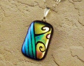 Blue Dichroic Etched Glass Pendant