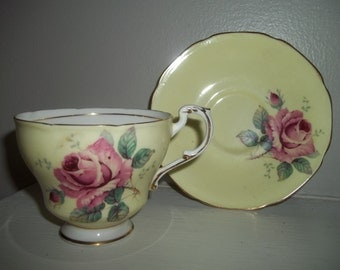 Paragon China Cup & Saucer, Yellow with Rose, Fine Bone China Teacup