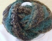 Hand Knit Varigated Brown Teal Acrylic Infinity  Scarf Cowl  Woman Teen Girl Warm Winter Gift