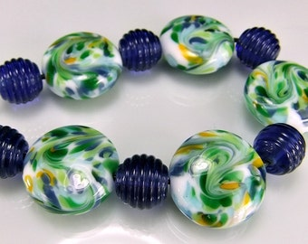 Green Blue Lampwork Bead Set SRA Lampwork Beads