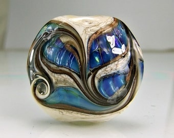 Glass Lampwork Focal Bead  Antique Ivory Blue Green Goldstone