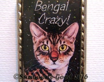 BENGAL CAT Keyring handbag cat carrier charm with print from original painting by Suzanne Le Good