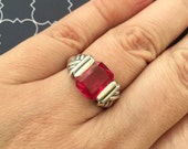 Synthetic Ruby and silver ring