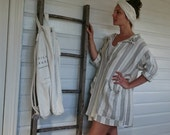 Grey and White Striped Linen Dress Two Sizes