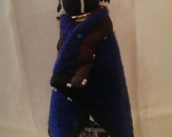 "11"" Beaded African Ndebele Doll Metal Neck Rings & Wire-wrapped Legs"