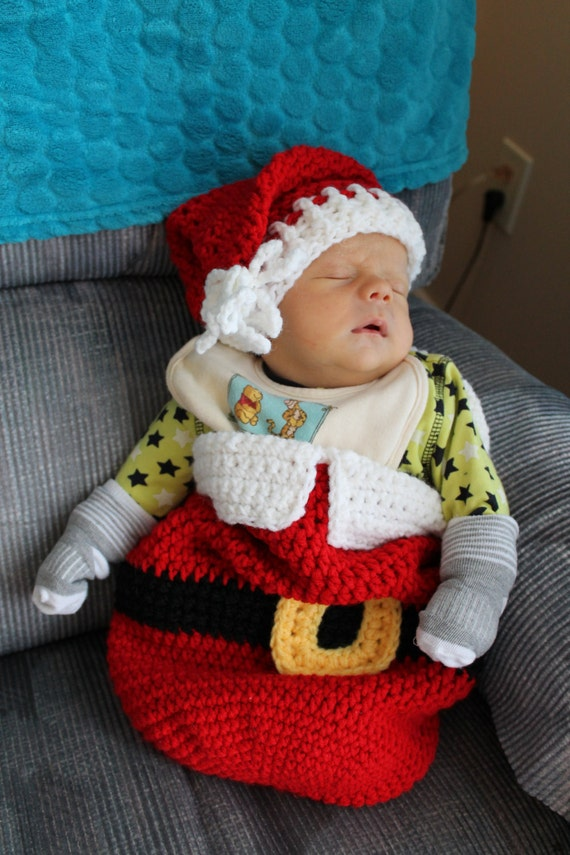 Pattern for Santa Wrap Cocoon and hat set Christmas in July sale