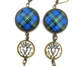 Scottish Tartan Jewelry - Ancient Romance Series - Campbell Clan Tartan Earrings with Luckenbooth Charm and Indigo Swarovski Crystal