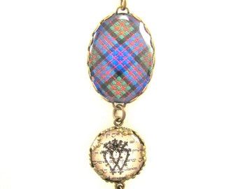 Scottish Tartan Jewelry - Ancient Romance Series - MacDonald Ancient Necklace with Luckenbooth Charm on Ancient Scottish Gaelic Script