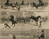 Antique Victorian Newspaper Print. The Graphic, dated June 8, 1872. Notes At A Parisian Horse Show