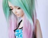 """MSD BJD 7"""" Hand colored Sea foam to pink Ombre long in front fake fur wig MonstroDesigns"""