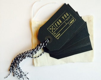 10 Gold and Black Tie Gift Tags
