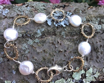 Bronze Linked Sterling Wired Pearl Bracelet