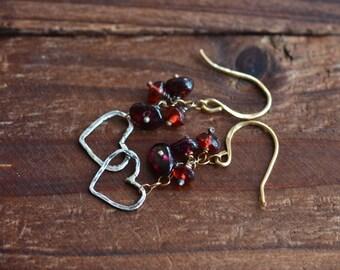 14kt Gold & Silver Open Heart Earrings - Sterling Silver Heart Earrings - Red Garnet Cluster Earrings