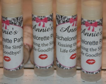 Lip Balm,  Bachelorette Party Favors, Kissing the Single Life Goodbye Personalized Bridesmaid Gift