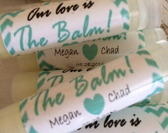 Wedding Favors, 50 Our Love is the Balm Lip Balm Favors, Bridal Party Favors, Mint Green Chevron, Personalized Labels