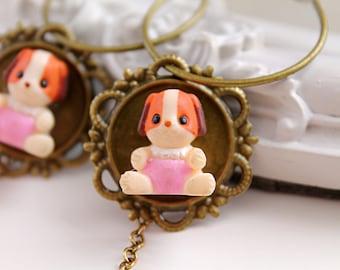 Cute little puppy  hoops earrings kawaii harajuku lolita dangles