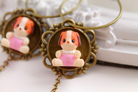 Cute little puppy  hoops earrings kawaii harajuku lolita dangles