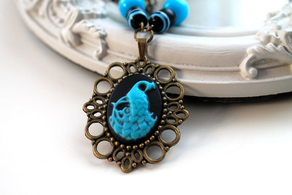 Peacock Cameo Necklace in black and blue  sweet  lolita feminine