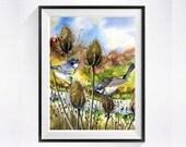 Bird painting - PRINT of a watercolor painting - Yellow-rumped Warbler painting, bird art, animal art - Nature, wild life, 8x10
