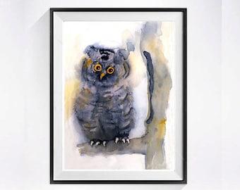 Owl Print Bird Print Bird Art Watercolor wildlife art  gray owl Great Horned owl abstract painting Woodland art yellow Bird painting