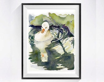 Swan Print Watercolor Painting Bird Art / Baby woodland creature nature wildlife waterfowl / Green garden wall artwork / Trumpeter swan