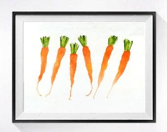Carrot Watercolor Prints - Orange kitchen wall decor Botanical prints Vegetable painting Veggie prints Farmers market  garden still life 3.