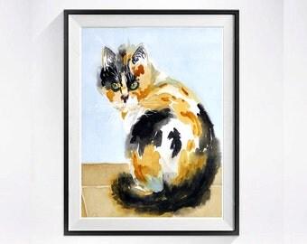 Calico Cat Art Watercolor cats Print painting  Watercolor pet artwork in aquarelle watercolour kitty digital print black and white Cats