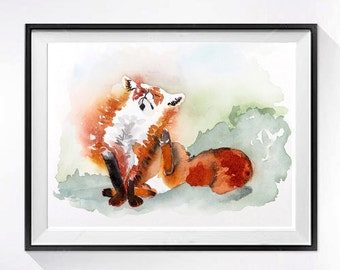 4 Orange Painting Fox Artwork PRINT, Animals in watercolor painting nature art decor, Watercolour, Nursery red fox painting, small wall art