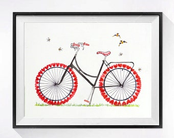 Bike Bicycle Art Print /Watercolor artwork / Valentine's Mother's Day anniversary gift / Heart art / painting / Color field red white Bike