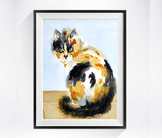15. Calico Cat Art Watercolor cats Print painting  Watercolor pet artwork in aquarelle watercolour kitty digital print black and white Cats