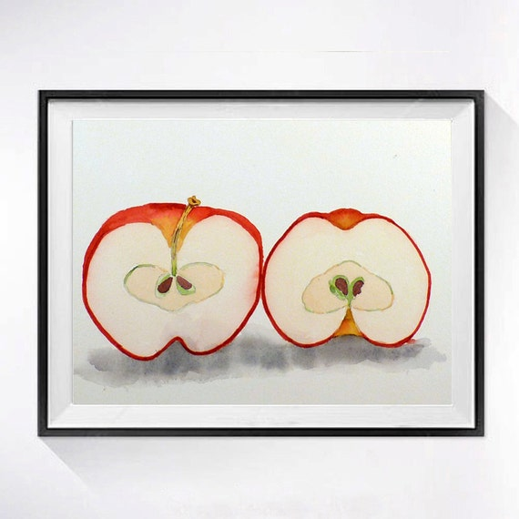 Fresh Crisp Apple Painting - Print of a Watercolor Painting - fruit art, nature, farmhouse, country chick Red and White